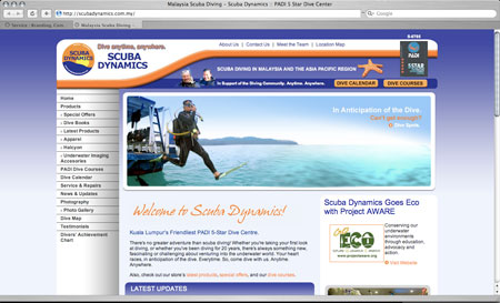 web redesign of scuba dynamics